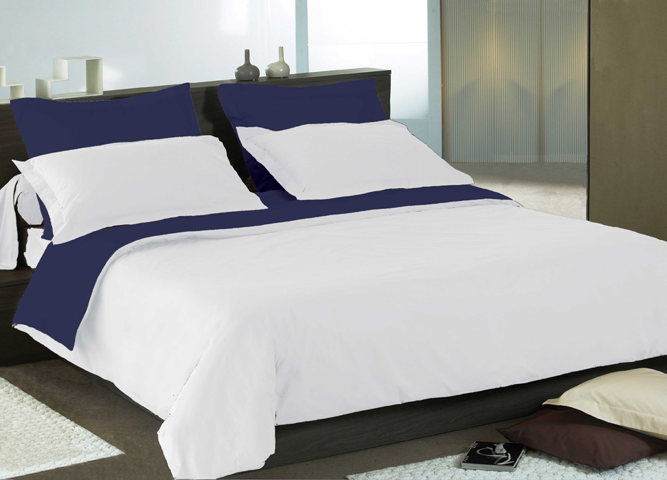 pin couette r versible bleu et grise microfibre 1 pers 140. Black Bedroom Furniture Sets. Home Design Ideas