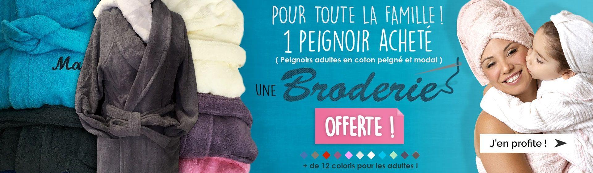 Peignoir enfant 100% coton + broderie offerte