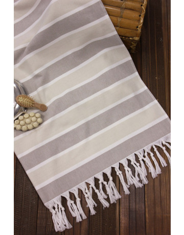 Fouta Taupe, Ficelle et Blanc