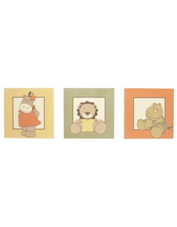 Set de 3 cadres de décoration Baboum, Zamba et Hippoum