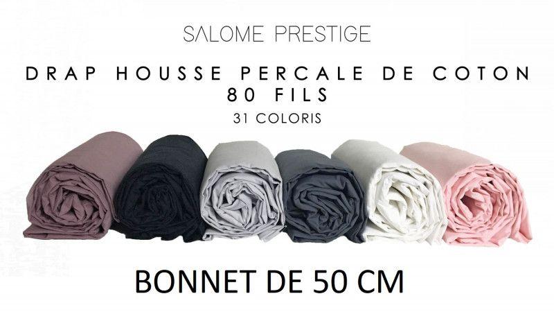 Drap housse uni percale de coton 80 fils / cm² bonnet de 50 cm 31 coloris