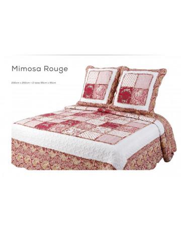 couvre lit boutis 230X250 cm + 2 taies d'oreiller Mimosa Rouge
