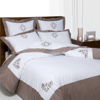 Embroidered duvet cover + 2 pillowcases 65x65 percale & cotton satin elegance