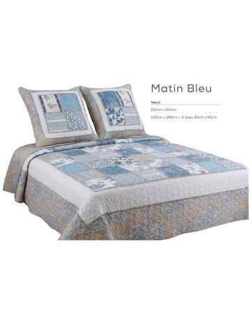 Couvre lit boutis 230x250 cm + 2 taies d'oreiller Matin bleu