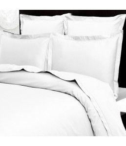 Lot deux deux taies d'oreiller satin de coton 200 fils