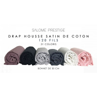 Plain satin cotton fitted sheet 120 threads / cm² Beanie 30cm
