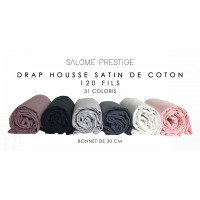 Plain satin cotton fitted sheet 120 threads / cm² Beanie 30cm