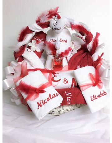 Corbeille rouge et blancche  Elisabeth & nicolas
