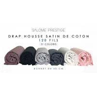 Satin cotton fitted sheet 120 threads / cm² 40 cm cap
