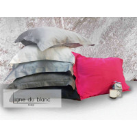 Lot of 2 120-thread cotton satin plain pillowcases