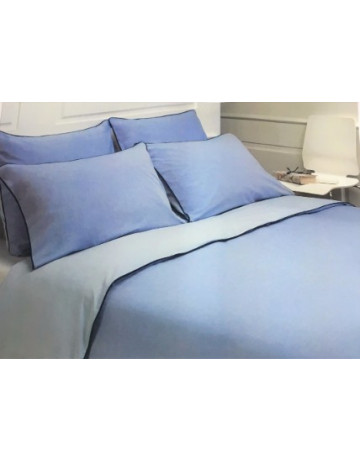 Duvet cover reversible cotton percale dyed threads +2 pillowcases