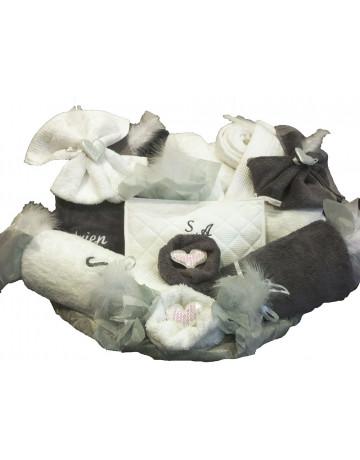 corbeille mariage éponge gris et blanc