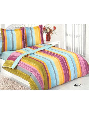 Duvet cover + 1 pillowcase 100% cotton 200x200 Amor