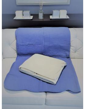 Plaid boutis uni bleu & ecru 150x150