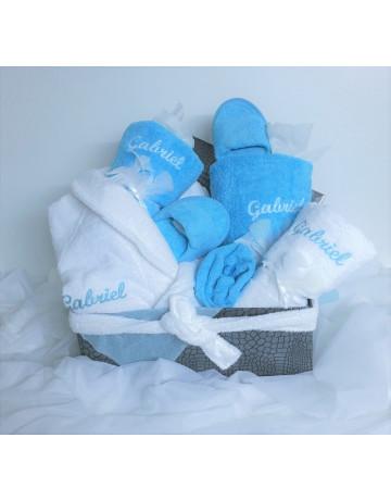 Corbeille turquoise/blanc Gabriel