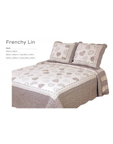 Couvre lit boutis 230x250 cm + 2 taies d'oreiller Frenchy gris & lin