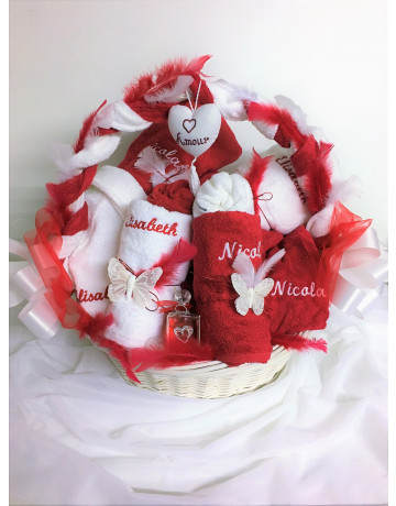 White and red basket Elisabeth & nicolas