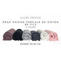 Drap housse percale de coton 80 fils/cm² bonnet de 30cm 31 coloris