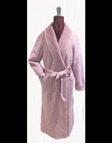Robe de chambre col châle rose 100% laine des pyrénées