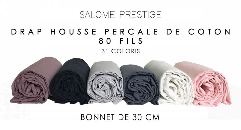 Drap housse percale de coton 80fil cm² bonnet de 30cm 31 coloris
