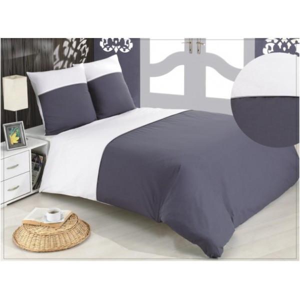 parure housse de couette bicolore r versible blanc et gris. Black Bedroom Furniture Sets. Home Design Ideas